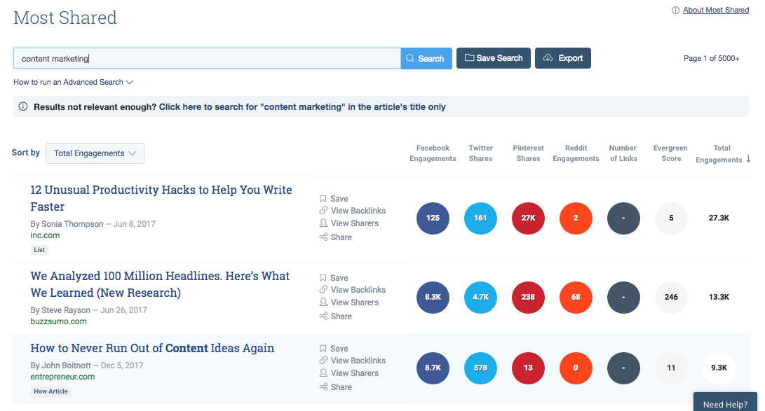 Search Buzzsumo for content ideas
