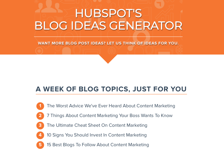 Hubspot Blog Idea Generator for Content Marketing