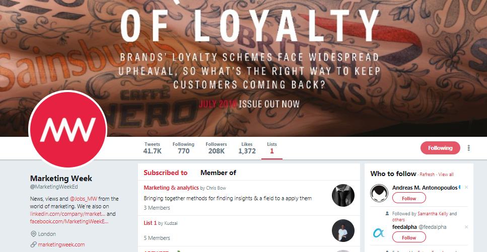 Marketing Week Twitter Profile