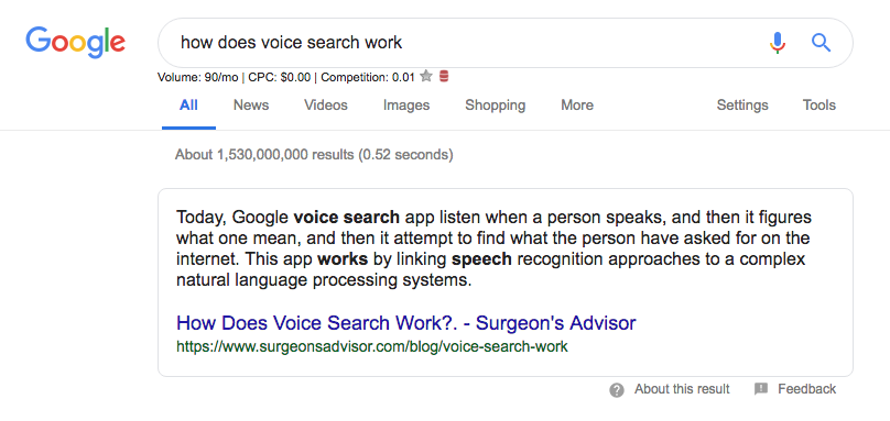 Google search results for 'How does voice search work?'