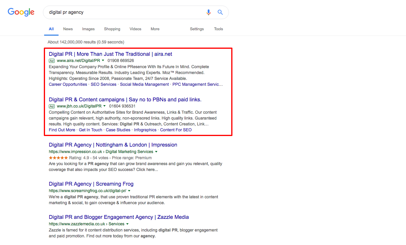 Googles SEPRs changed to include paid advertisement