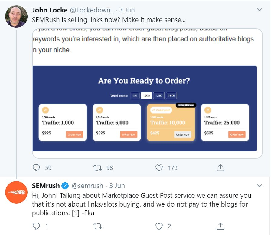 Screenshot of a Tweet by John Locke on 3rd June about SEMrush guest posting services.