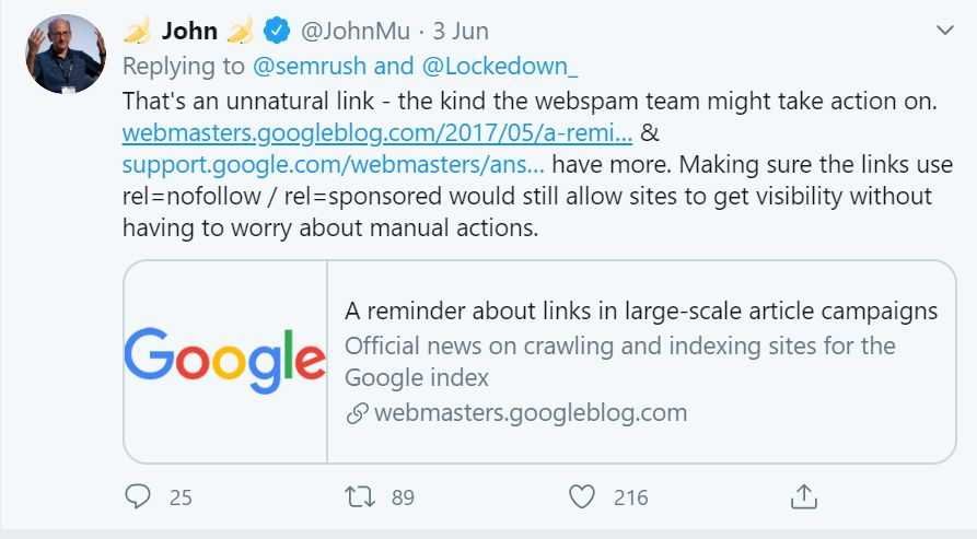 Tweet by John Muller about SEMrush guest posting on 3rd June