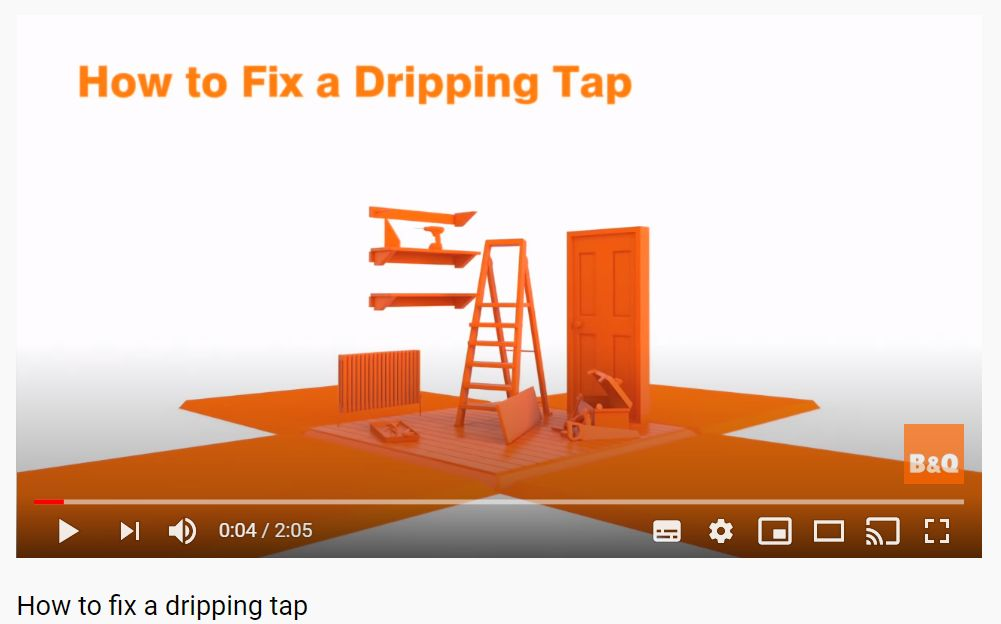 Screenshot of a B&Q video about how to fix a dripping tap