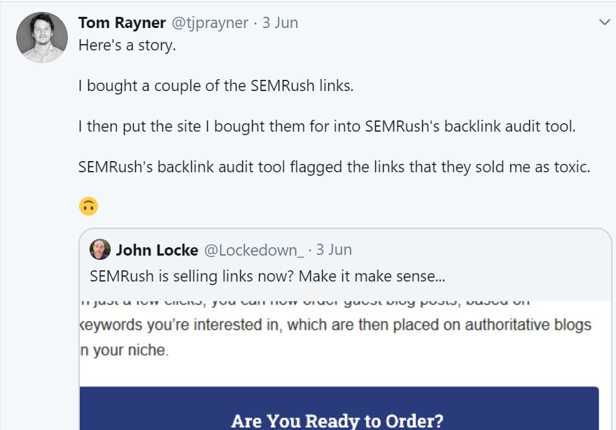 Tweet by John Rayner about SEMrush guest posting on 3rd June