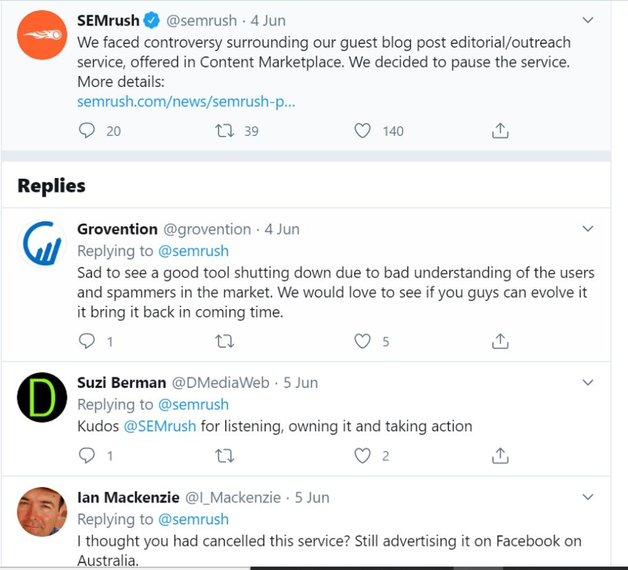 Tweet by SEMrush about shutting down their guest posting service