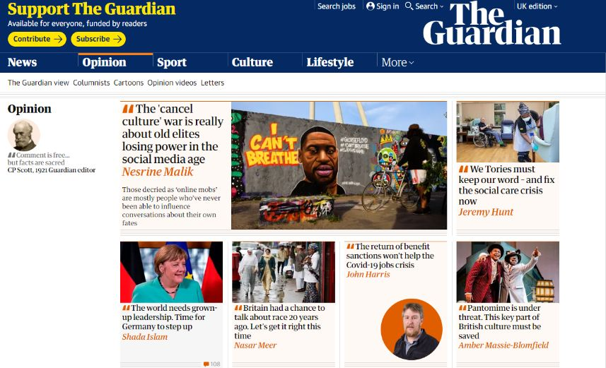 Screenshot of the Opinion section in The Guardian on 13/07/2020