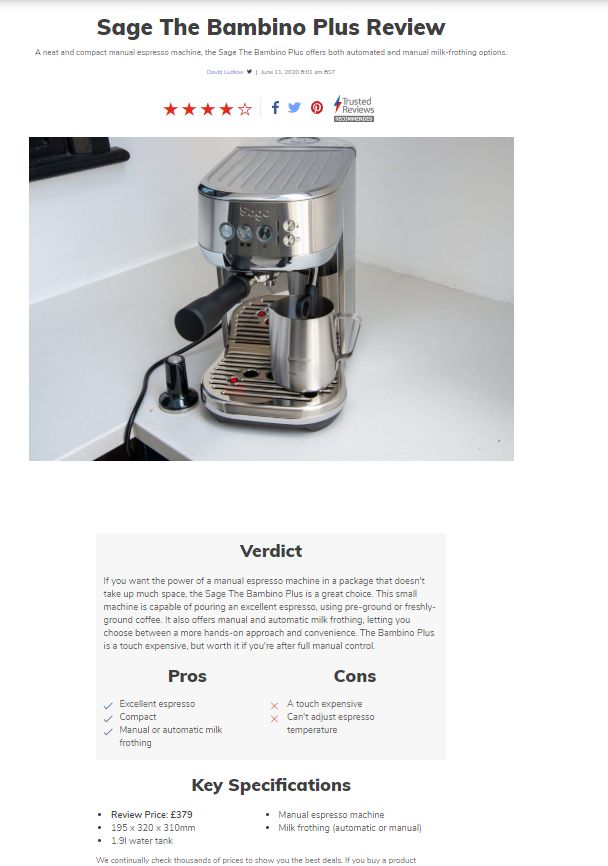 Example of a coffee machine review