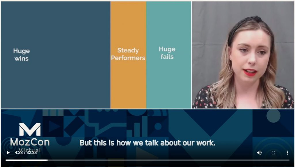 Screenshot from the talk by Shannon McGuirk at MozCon 2020
