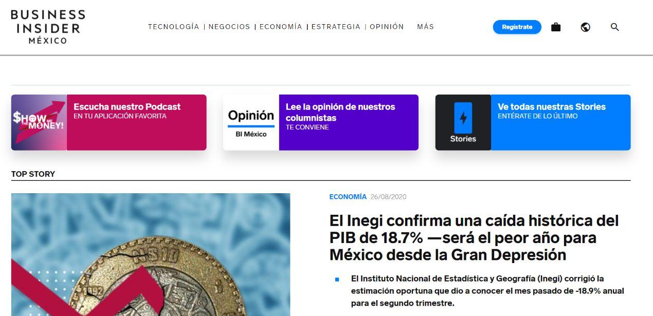 Screenshot taken from https://businessinsider.mx/ on 26/08/2020