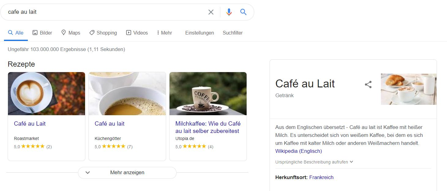 Screenshot: SERPs for Cafe au Lait in Germany