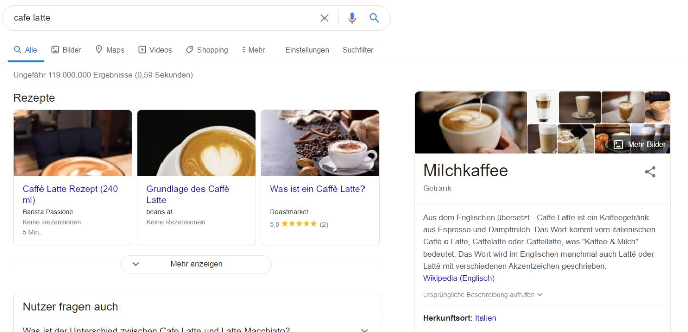 Screenshot: SERPs for Cafe Latte in Germany