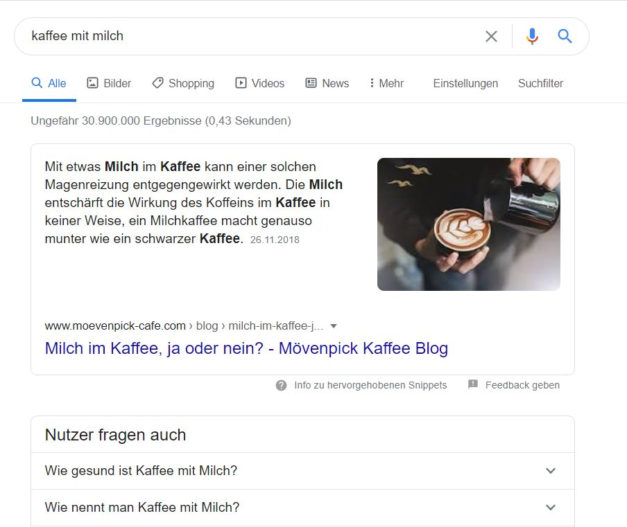 Screenshot: SERPs in Germany for Kaffee mit Milch
