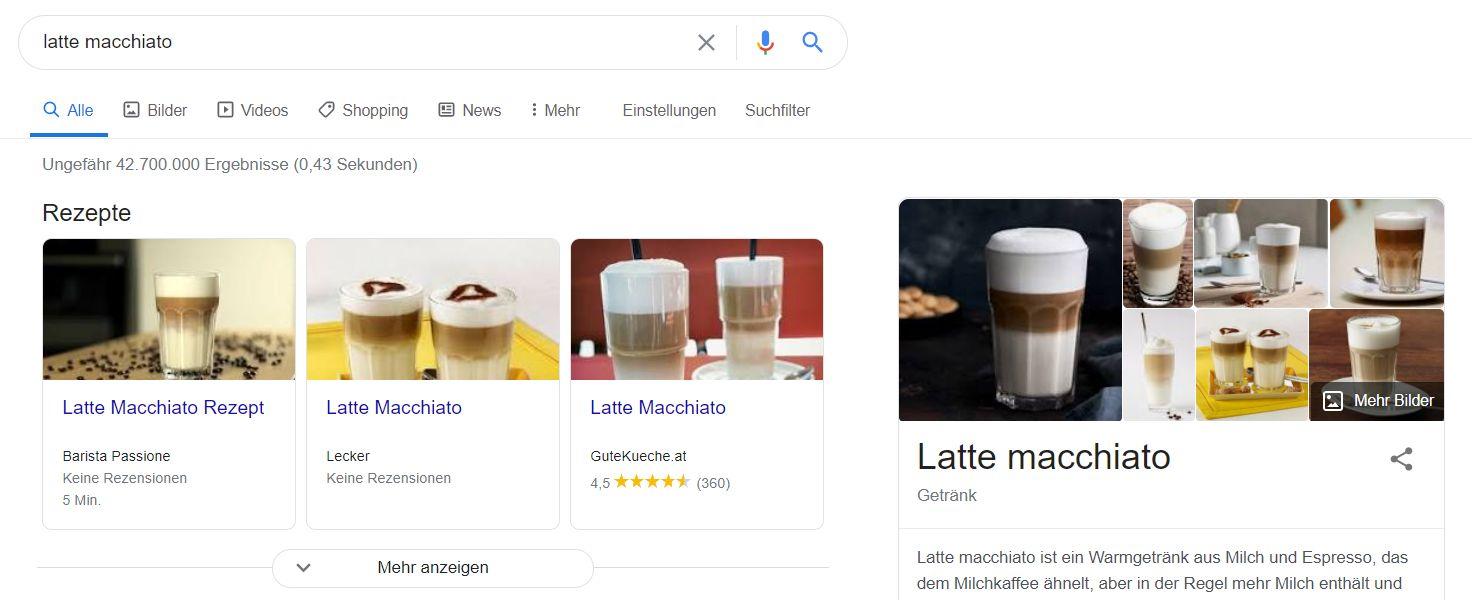 Screenshot: SERPs for Latte Macchiato in Germany