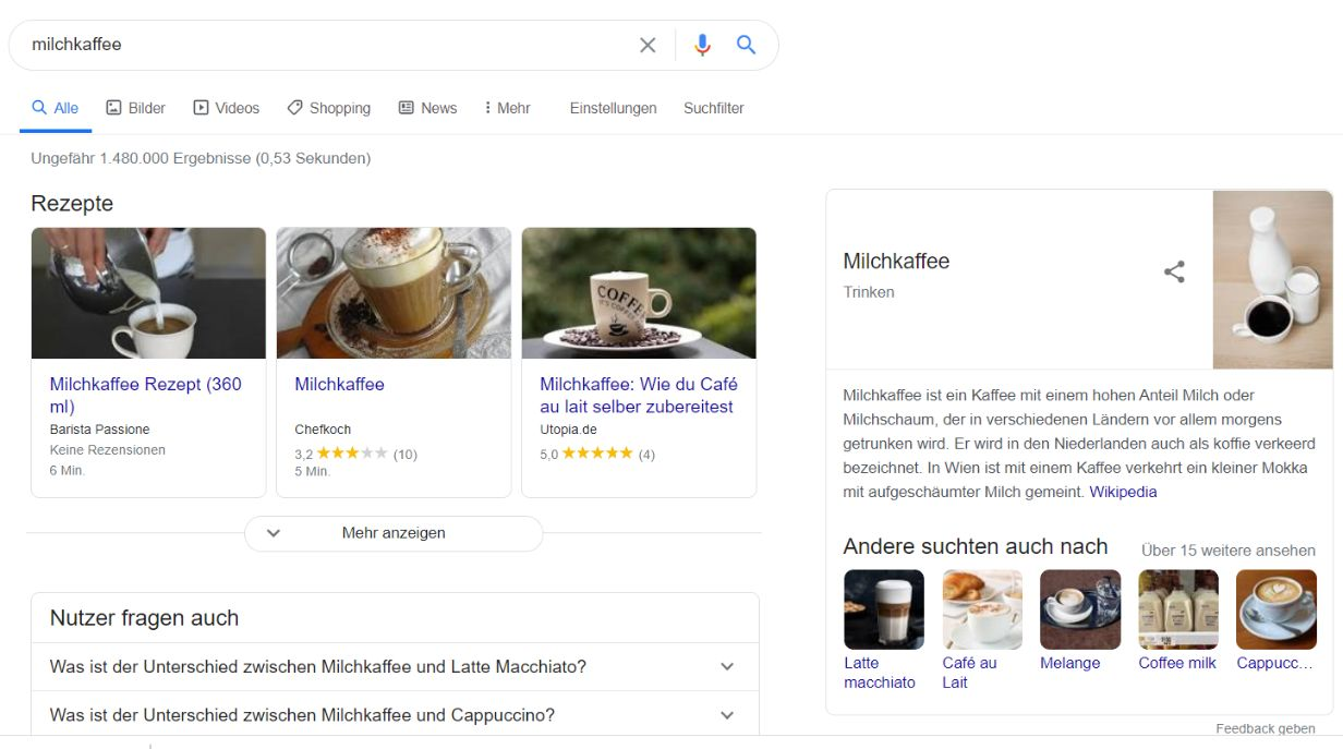 Screenshot: SERPs for Milchkaffee in Germany