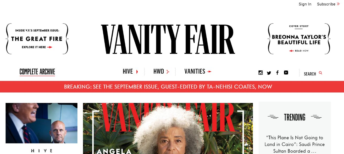 Screenshot taken on https://www.vanityfair.com/ on 26/08/2020