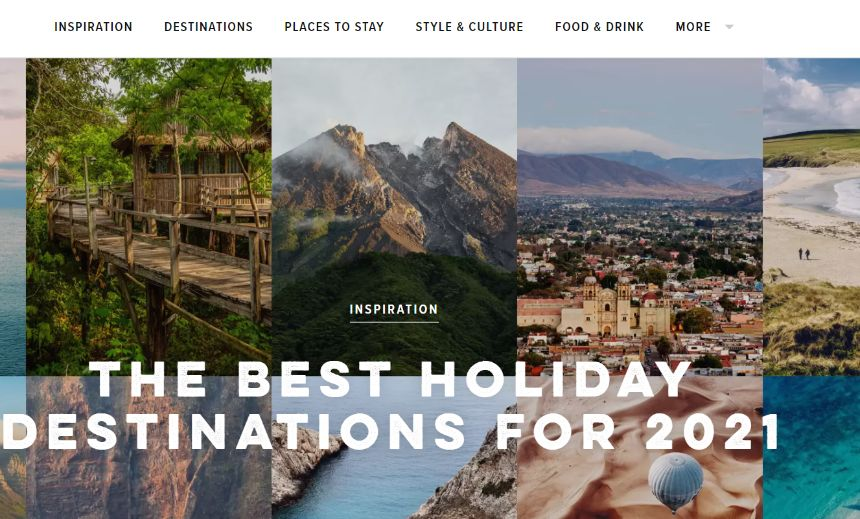 Screenshot from Conde Nast Traveler on 09/09/2020
