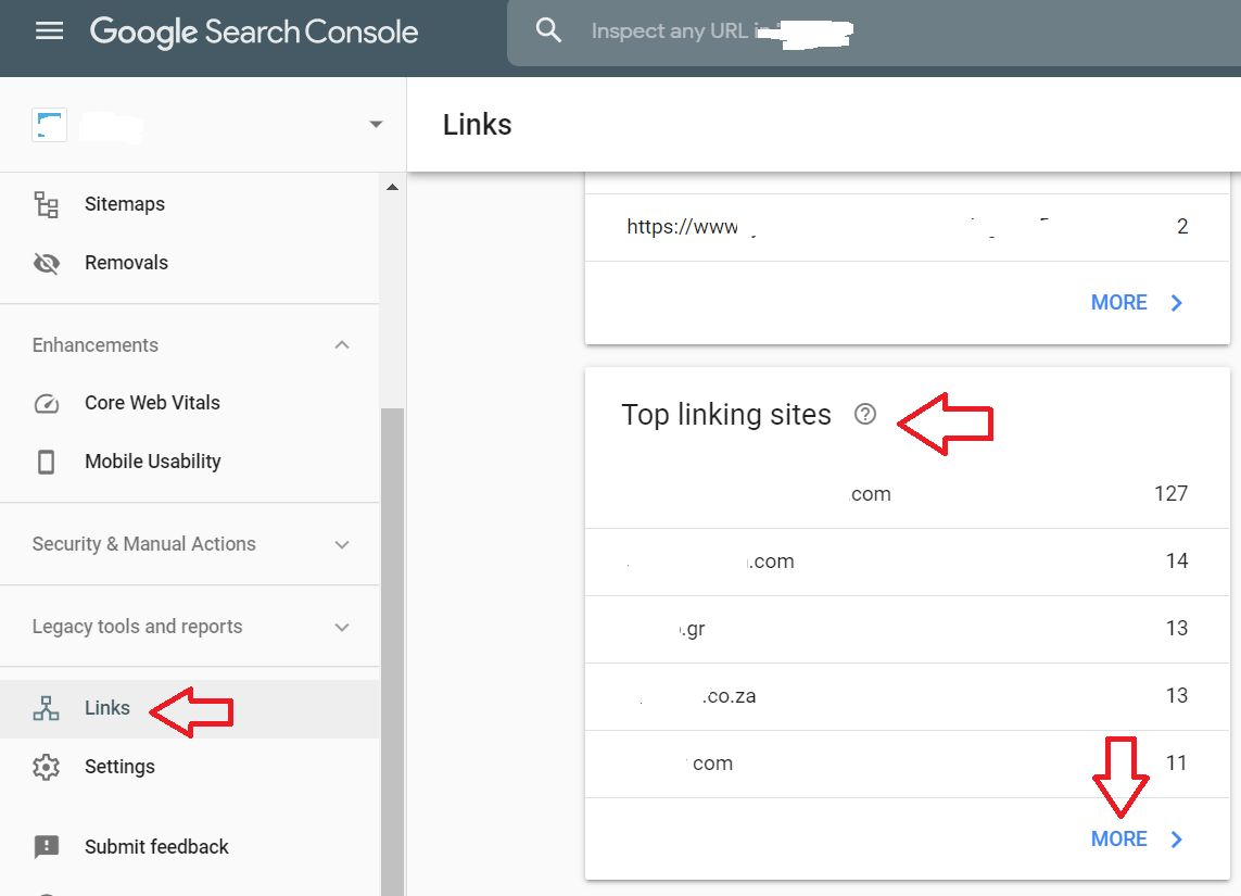 Google Search Console screenshot: How to find backlinks
