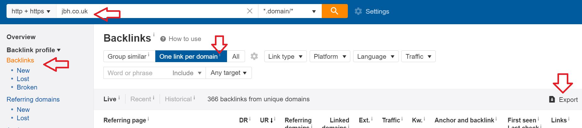 Ahrefs screenshot: how to export backlinks