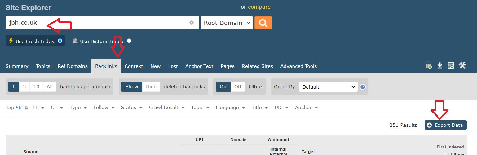 Majestic screenshot: How to export backlinks
