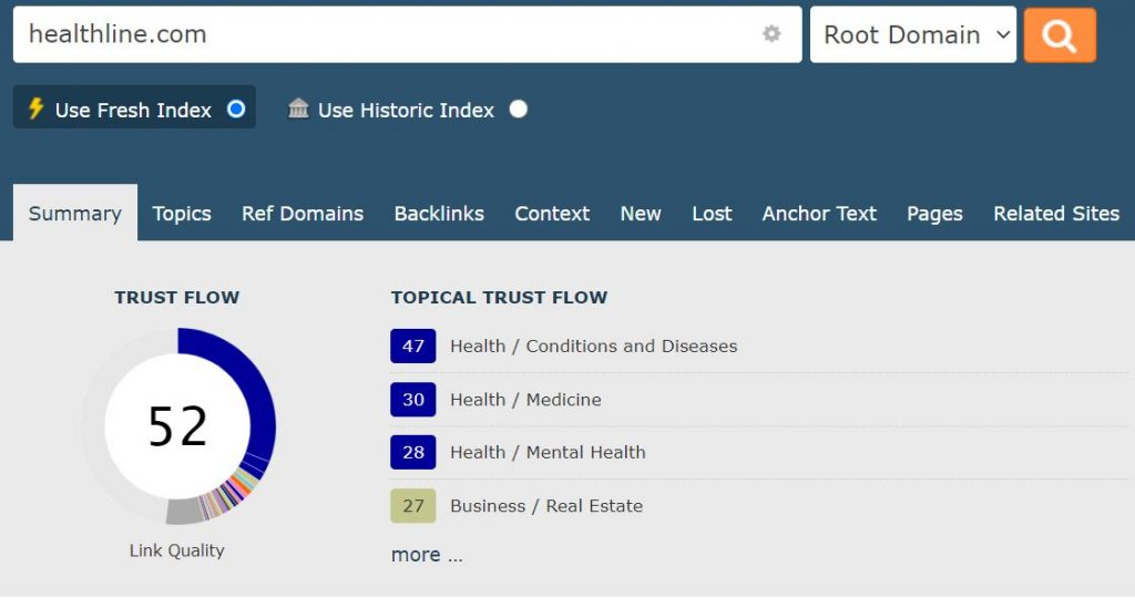 Screenshot from Majestic showing the summary of stats for healthline.com