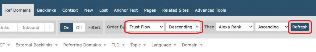 Screenshot from Majestic showing how to sort referring domains by trust flow