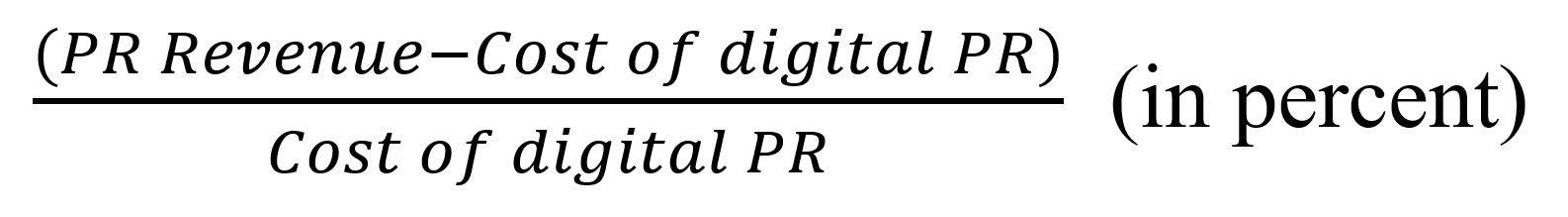 Formula to calculate digital PR ROI